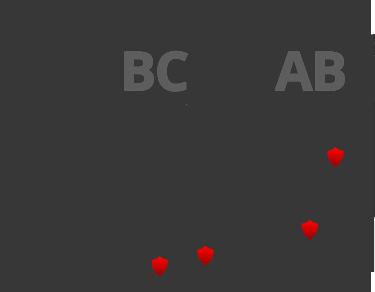 Map of British Columbia and Alberta